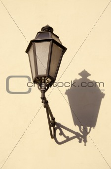 old town vintage lamp on wall