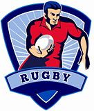 Rugby player running ball front shield