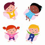 Multi cultural different jumping children - vector isolated on w