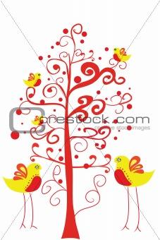 couple bird under tree