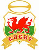 rugby ball wales red welsh dragon shield