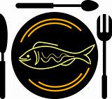 eating fish logo