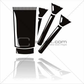 black cream with brushes