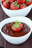 Hot chocolate cream and strawberry beautiful dessert