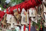 Paper prayers and wishes at Temple of Confucius in Shanghai, China