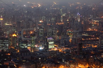 City of Shanghai illuminated at night
