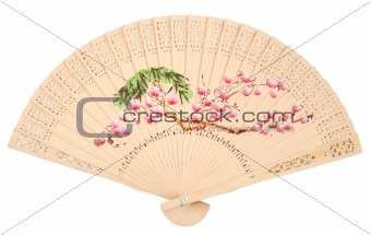 Beautiful Chinese fan isolated over white background
