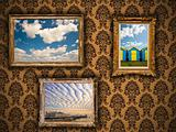 Gilded  frames on damask wallpaper with vibrant Summer images