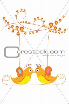 couple bird on swing