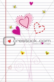 heart flowers on lined sheet