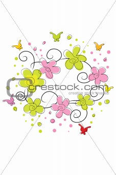 bright flowers and butterflies