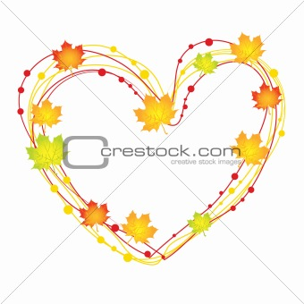 abstract heart with leaves