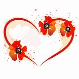 heart with red poppy