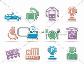 airport, travel and transportation icons 2