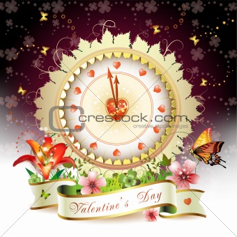 Clock design with Valentine's day theme