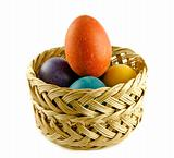 Easter eggs in a wattled basket