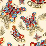 vector seamless background with butterflies