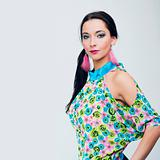 beautiful fashion girl in colorful clothes