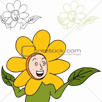 Boy Wearing Flower Costume
