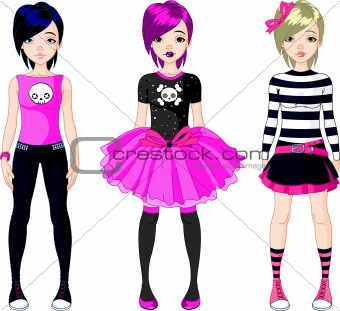 Three  Emo stile girls