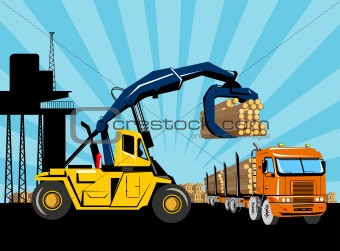 Forklift hoist crane load timber logging truck