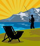Fly fisherman fishing lake mountains chair