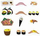 artoon Japanese food icon set