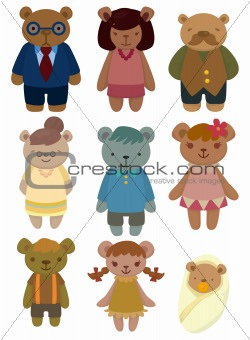 cartoon bear family set icon