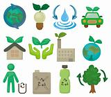 cartoon eco set icon