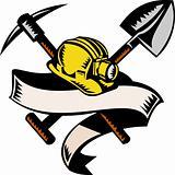 coal miner hat shovel spade pickax mining