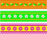 Vector EPS10 Three Flower Borders with Dots, Gingham and Stitches