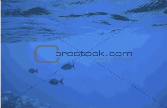 Vector Eps8 Abstract Background with Fish Under the Surface