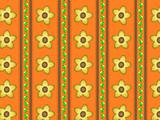 Vector Eps 10 Orange Wallpaper with Yellow Flowers and Brown Stripes