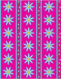 Vector Eps 10 Pink Wallpaper with Blue Flowers and Blue Stripes