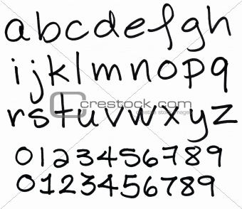 Alphabet in lower case black ink letters