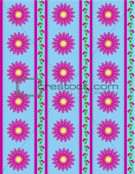 Vector Eps 10 Blue Wallpaper with Pink Flowers and Pink Stripes