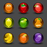 Buttons with fruit dark background with shadow