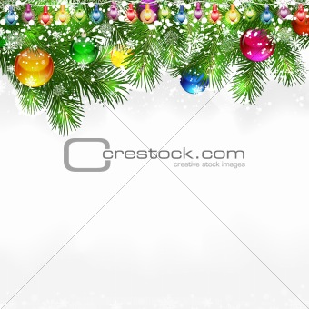 Christmas background with snow-covered branches