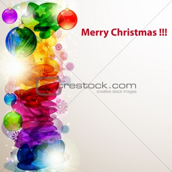 Bright Christmas border with snowflakes. Vector image.