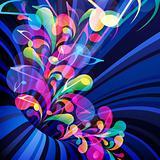 Musical theme. Splash of musical note.