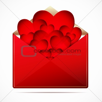 A love letter with a hearts. Vector image.