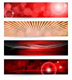 Vector set of abstract banners. Red Design.