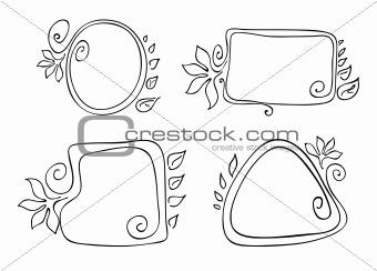 four-monochrome-floral-frames