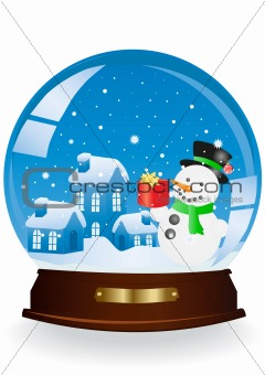 houses and snowman in a sphere