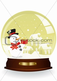 houses and snowman in a yellow sphere