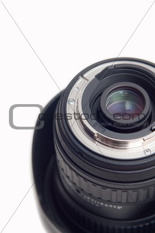 Cropped photographic lens on white background