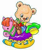 cute bear riding a rocking horse