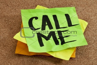 call me on sticky note