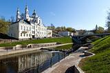 Belarus nice Vitebsk spring landscape view of St. Uspenski Cathe