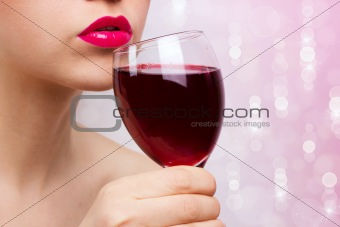 Young beautiful woman with wine
